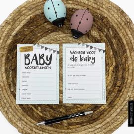 Babyshower invulkaartjes - Kleur per stuk