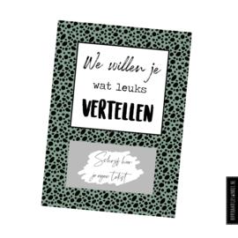 """Kraskaart DIY """"We willen je wat leuks vertellen"""" Kleur"""
