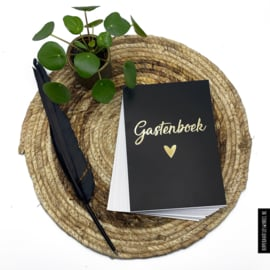 Gastenboek invulkaarten 50st. - Zwart met goudfolie