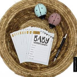 Babyshower invulkaartjes - Kleur 10 stuks