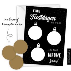 Kraskaart kerst DIY - Voordeelset 8 stuks zwart/goud inclusief witte envelop