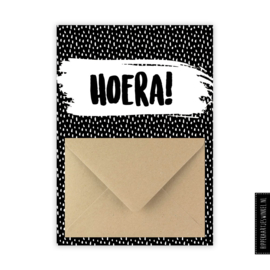 Geldkaart 'Hoera' zwart/wit
