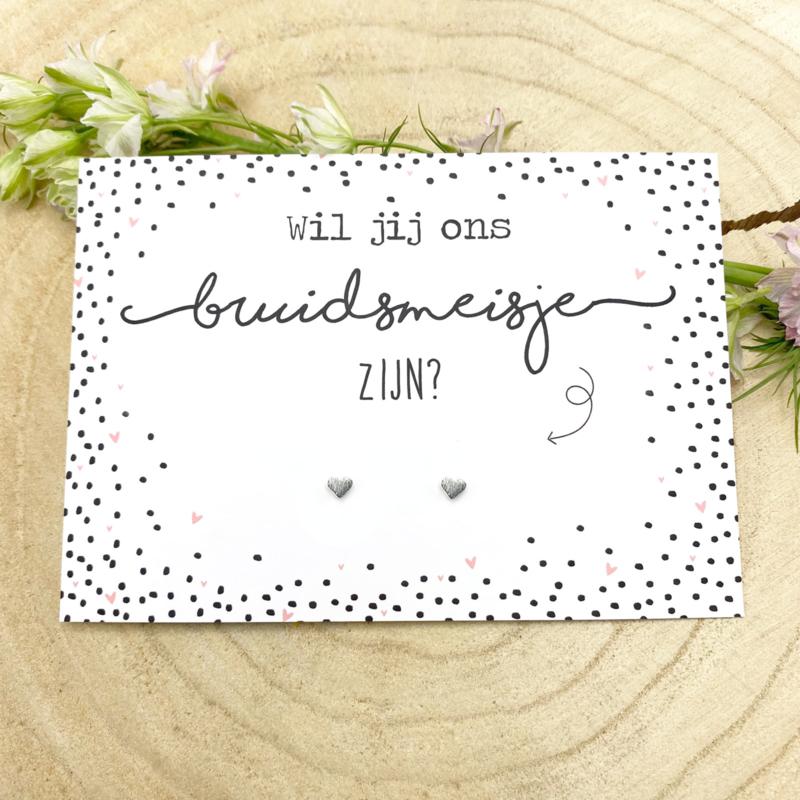 Kaart Bruidsmeisje met oorknopjes
