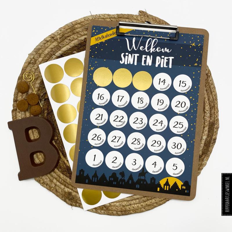 Aftelkalender 'Sinterklaas' met klembord