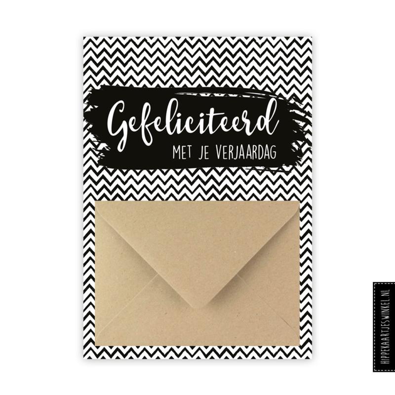 Geldkaart 'Gefeliciteerd' zwart/wit