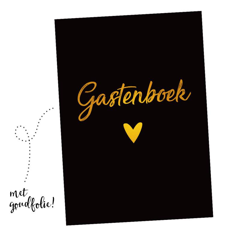 Gastenboek invulkaarten 25st. - zwart met goudfolie