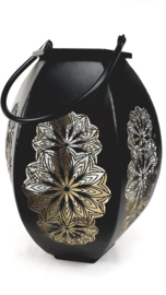 Black/Gold Seethrough Lantern 24.5*27.5*36.5cm