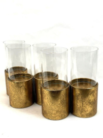 Metal Gold 5Cilinder Candleholder with Glass