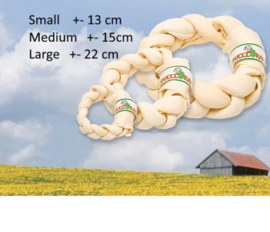 Farm Food Rawhide Dental braided donut Small