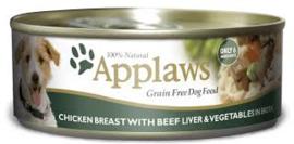 Applaws kip, rund, lever en groenten 156gr