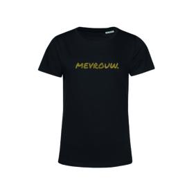 Zwart MEVROUW. shirt Ronde hals krijt met Glitter Goud