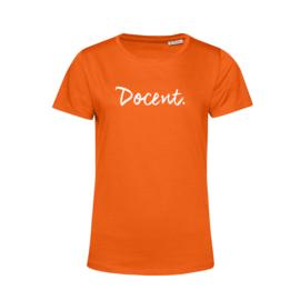 Oranje DOCENT. Shirt Ronde hals Krijt