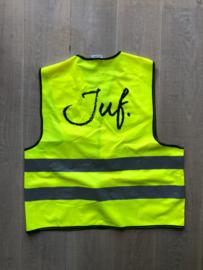 Fluor Geel JUF. Veiligheidsvestje Krijt