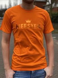 Oranje MEESTER. Shirt Klas met glanzend Oranje