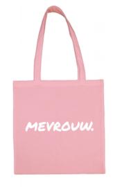 Roze MEVROUW. katoenen tas Krijt (Enkelzijdig)