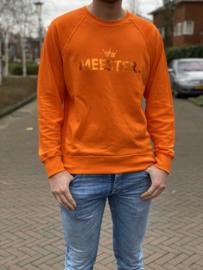Oranje MEESTER. Lightweight Sweater Klas met glanzend Oranje