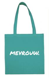 Turquoise MEVROUW. katoenen tas Krijt (Enkelzijdig)