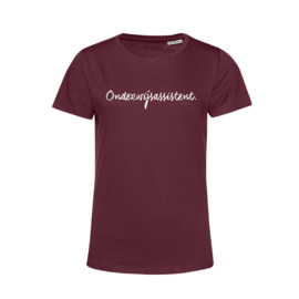 Bordeaux ONDERWIJSASSISTENT. Shirt Ronde hals Krijt
