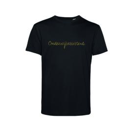 Zwart ONDERWIJSASSISTENT. Heren shirt Krijt met Glitter Goud