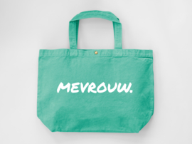 Mint MEVROUW. Canvas shopper (Dubbelzijdig)