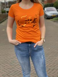 Oranje JUF. shirt Ronde hals krijt met glanzend Oranje