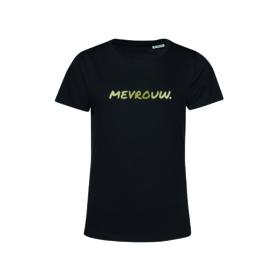 Zwart MEVROUW. shirt Ronde hals krijt met Glanzend Goud
