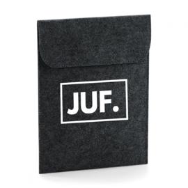 Donkergrijs JUF. Vilten iPad Hoes Klas