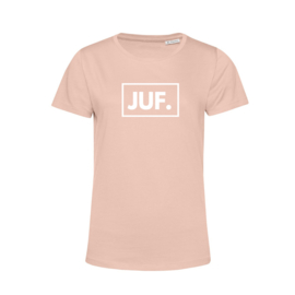 Pastel roze JUF. Shirt Ronde hals Klas