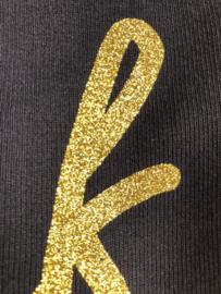 Zwart JUF. shirt Ronde hals krijt met Glitter Goud