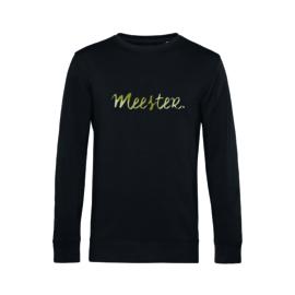 Zwart MEESTER. Sweater Krijt met Glanzend Goud