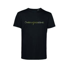 Zwart ONDERWIJSASSISTENT. Heren shirt Krijt met Glanzend Goud