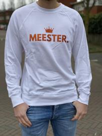 Wit MEESTER. Lightweight Sweater Klas met glitter Oranje