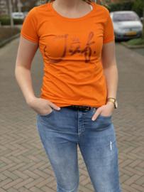 Oranje JUF. shirt Ronde hals krijt met glitter Oranje
