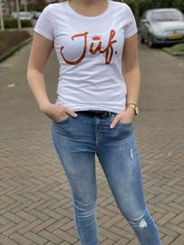 Wit JUF. shirt Ronde hals krijt met glitter Oranje