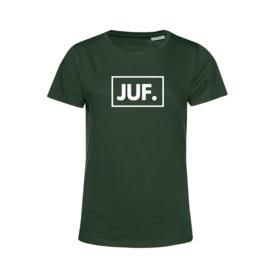 Flessengroen JUF. Shirt Ronde hals Klas