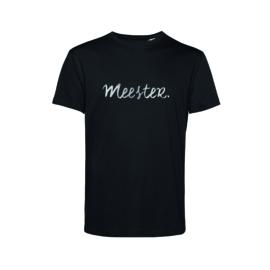 Zwart MEESTER. shirt Krijt met Glanzend Zilver