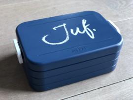 Donkerblauw JUF. Lunchbox Krijt