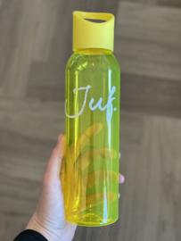 Geel JUF. Waterfles Krijt