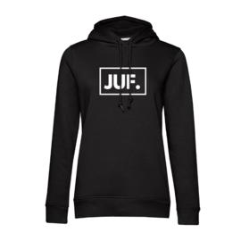 Zwart JUF. Hoodie klas