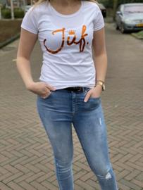Wit JUF. shirt Ronde hals krijt met glanzend Oranje