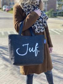 Donkergrijs JUF. Vilten shopper Krijt (Dubbelzijdig)