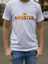 Wit MEESTER. Shirt Klas met glanzend Oranje
