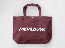 Bordeaux MEVROUW. Canvas shopper (Dubbelzijdig)