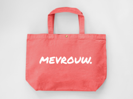 Peach MEVROUW. Canvas shopper (Dubbelzijdig)