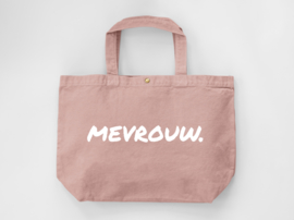 Oudroze MEVROUW. Canvas shopper (Dubbelzijdig)