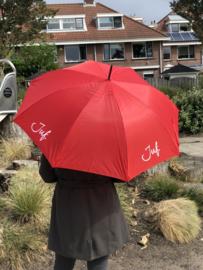 Rood JUF. Paraplu Krijt