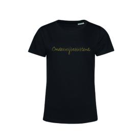 Zwart ONDERWIJSASSISTENT. shirt Ronde hals krijt met Glitter Goud