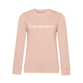 Pastel roze ONDERWIJSASSISTENT. Dames Sweater Krijt
