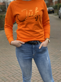 Oranje JUF. Ladyfit Sweater Krijt met glanzend Oranje