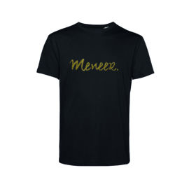 Zwart MENEER. shirt Krijt met Glitter Goud